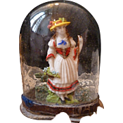 Rare 18th century miniature French glass display dome diorama : young girl : perfect doll accessory ( No. 1)