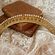 Beautiful 19th C. French Empire gilt metal and faux pearl diadem  : floral : grape vine leaf motifs