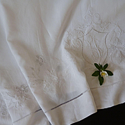 Exquisite antique French white linen linen sheet : hand embroidery : floral foliage shield motifs :  92 x 136 inches