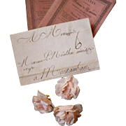Decorative 18th C. French ephemera letter : scrolled ink writing :  dated 1785