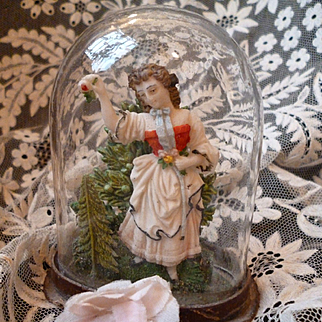 Rare 18th C. miniature French glass dome diorama : young girl : perfect fashion doll accessory ( no. 2 )