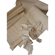 Batch French morceaux old cream moire ribbons : scarf : bow : dolls clothing projects