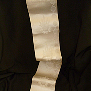 Morceau antique French cream  taffeta ribbon : floral motifs : doll clothing projects