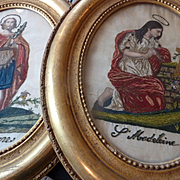 Decorative pair 19th C. French framed chenille embroidery : Saint Theodore : Sainte Madeleine