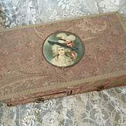 Faded grandeur vintage French boudoir vanity fabric covered trinket box : paisley motifs : 18th C. lady medallion