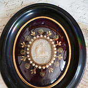 Antique French convent work reliquary : wax agnus dei : paperolles : faux pearls : paste stones : beads