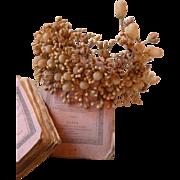 Elaborate faded grandeur 19th C.French bride's wax wedding crown : diadem