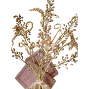 Delicious 19th C. French faded grandeur bride's wax wedding bouquet : initials LV: ribbon bow