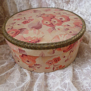 Delicious vintage French faded grandeur fabric covered round box: pink floral motifs : metallic trim