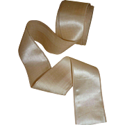 Delicious old French cream silk ribbon still on roll : 2 inches wide