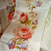 Pretty French old cream ribbon with printed rose motifs : 2 inches wide