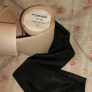 Beautiful old French wide black silk ribbon still on packaging roll : 4 1/4 inches wide