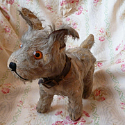 Adorable old scruffy mohair terrier type toy dog with collar : 9 inches high