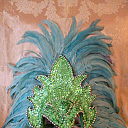 Glamorous vintage French show girl cabaret lido headdress : sequins : beads : feathers : circa 1950's