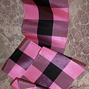 Morceau 19th C. French candy pink and black check taffeta ribbon :  2 yards long : 4 3/4 inches wide