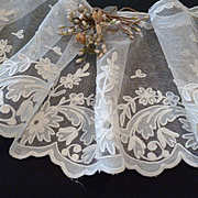 Superb unused old French hand made ecru Carrickmacross long lace panel : floral and foliage motifs