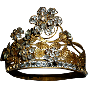 Bejeweled rare antique French gilt brass Santos Madonna tremblant crown : paste stones : floral motifs