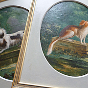 Delightful pair 19th C. oil on board framed dog portrait paintings