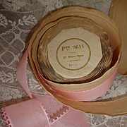 Delicious vintage French unused pink rayon ribbon : still on packaging roll : doll clothing projects