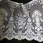 Pretty vintage French unused brise-bise cotton lace curtaining : old shop stock : rose  and fleur de Lys motifs