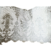 Pretty vintage French unused brise-bise cotton lace curtaining : old shop stock : rose  and fleur de Lys motifs