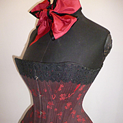 Superb antique French red and black ladies corset : floral motifs : trimmed black lace : ribbon