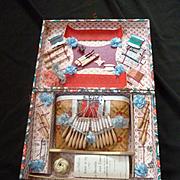 Adorable 19th C. French child's Dentelle aux fuseaux presentation toy box : miniature lace makers pillow : bobbins