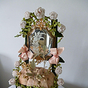 Faded grandeur 19th C. French pink and green boudoir wedding display stand : porcelain roses : wax crown