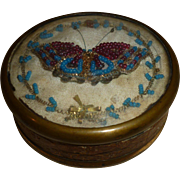 Unusual 19th C. French hand made bonbon or candy box : butterfly motifs : glass beads : gold metallic thread