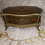 Splendid 19th C. French miniature candy container chest of drawers : faux Boulle finish : Fashion doll accessory