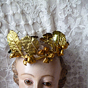 Faded grandeur French old gold foil miniature crown : statue : antique doll