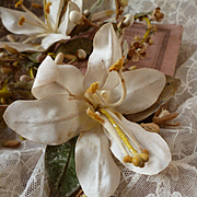 Faded grandeur old French bride's wax wedding crown & corsage : artificial lily flowers