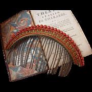 Beautiful French vermeil & coral hair comb : diadem : tiara : 1820 - 1830