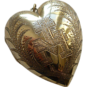 Beautiful 19th C. French vermeil : silver gilt ex voto sacred : monogram M : cross : palm leaves