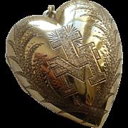 Beautiful 19th C. French vermeil : silver gilt ex voto sacred : monogram M : cross : palm leaves