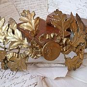 Faded grandeur French gilt metal crown or diadem : laurel and oak leaves : acorn : ribbon bow