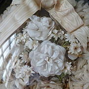 Romantic 19th C. French bride's artificial flower wedding bouquet crown: ribbon bow : Napoleon 111