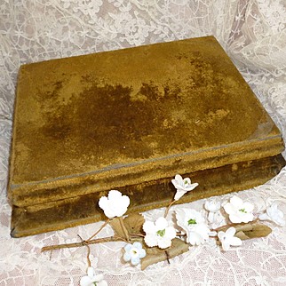 Faded grandeur 19th C. French green / gold velvet covered wooden plinth or display stand