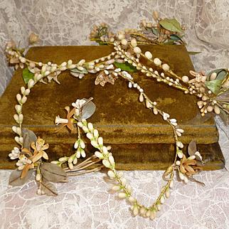 3 delicious faded grandeur French bride's wax wedding crowns : tiaras : period display
