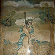 Fine antique French religious silk work and painted embroidery : sheep : John the Baptist : metallic threads
