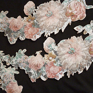 Rare fragments 18th C. French Chateau boudoir wallpaper swag friezes : rose and tulip motifs