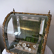Faded grandeur antique French display vitrine :  floral spray : mignonette : diorama : projects