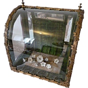 Faded grandeur antique French display vitrine :  floral spray : mignonette : diorama