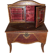 19th C. French miniature tooled leather doll size bonheur du jour style furniture : fashion doll