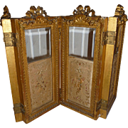 Rare 19th C. gilt wood doll size folding screen : bows : swags : silk embroidery panels in need of TLC