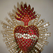 Bejeweled 19th C. French paste stone flaming sacred heart candle sanctury lamp :  16 inches high