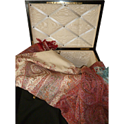 Huge early 19th C. French cashmere shawl or marriage : sarcophagus  box or chest  : monogram