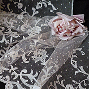 Rare long flounce 19th C. hand applied tulle lace : bobbin and needle floral and foliage motifs : 9 yards