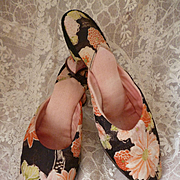 Delicious pair of antique French ladies heeled boudoir slippers : shoes : mules