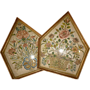Decorative pair antique French silk work embroideries : gold metallic thread : floral foliage and basket motifs